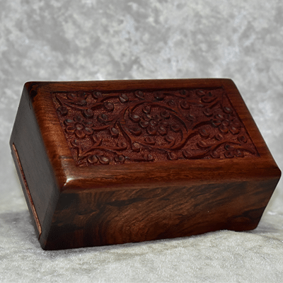 "<span style=""color: #000000;"">Hand Carved Rosewood Urn"